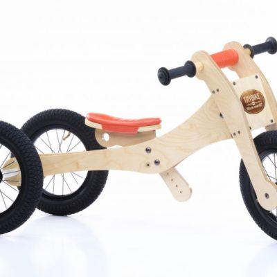Trybike Natural Wood 4 In 1 Balance Bike Seat and Safety Pad - Orange