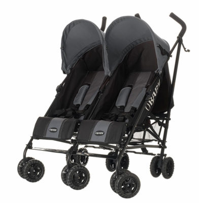 Obaby Apollo Twin Stroller - BlackGrey with Grey Hoods