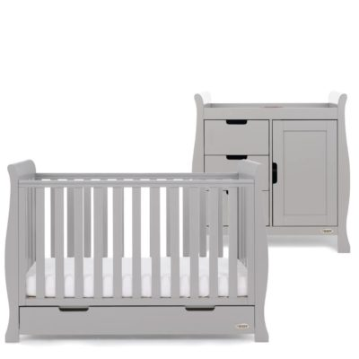Obaby Stamford Mini Sleigh 2 Piece Room Set - Warm Grey