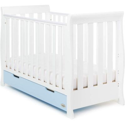 Obaby Stamford Mini Sleigh 2 Piece Room Set - White with Bonbon Blue 2