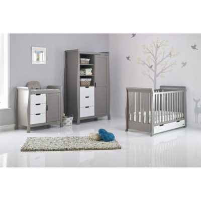 Obaby Stamford Mini Sleigh 3 Piece Room Set - Taupe Grey with White