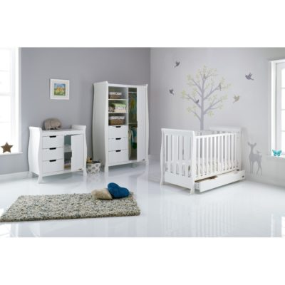 Obaby Stamford Mini Sleigh 3 Piece Room Set - White 2