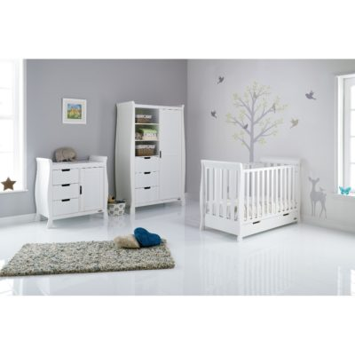 Obaby Stamford Mini Sleigh 3 Piece Room Set - White