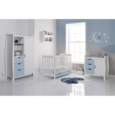 Obaby Stamford Mini Sleigh 3 Piece Room Set - White with Bonbon Blue