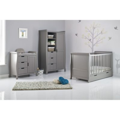 Obaby Stamford Sleigh 3 Piece Room Set - Taupe Grey