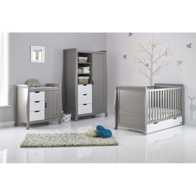 Obaby Stamford Sleigh 3 Piece Room Set - Taupe Grey with White