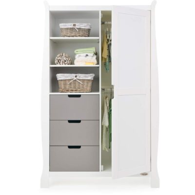 Obaby Stamford Sleigh Double Wardrobe - White with Taupe Grey 2