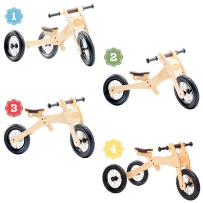Trybike - Natural Wood 4 In 1 Balance Bike - Brown