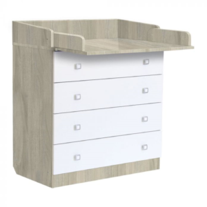 Kudl-Kids-4-Drawer-Unit-1580-With-Changing-Board-and-Storage-ElmWhite1